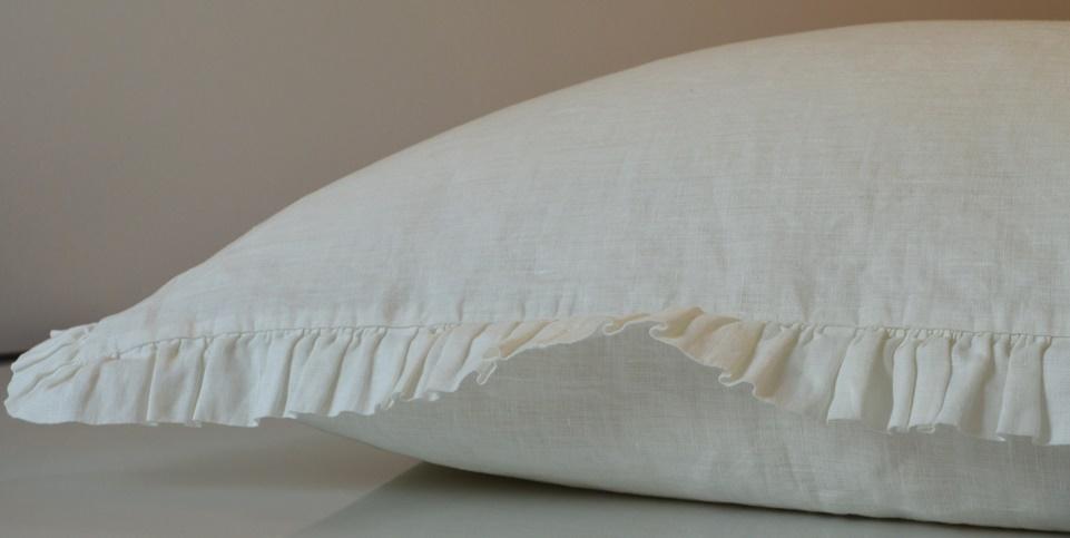 Leinen Bettwäsche Garnitur Madara Mit Rüschen 135x 200 Cm Weiß