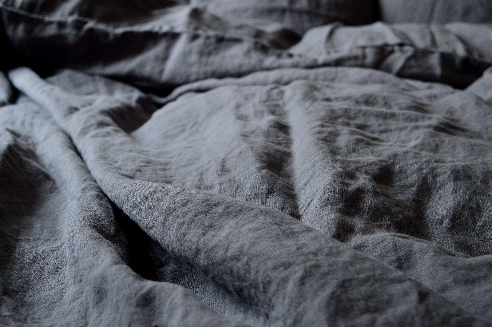 90x 200 cm 200x 200 cm Leinen Spannbettlaken Grau H 26 cm stone washed