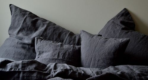 Braun Leinen Bettwäsche Garnitur 135x 200 cm,40x 60 cm,40x 80 cm,80x 80 cm
