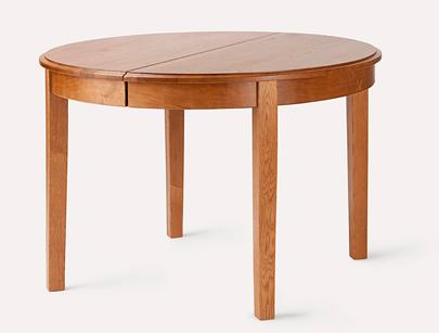 runder esstisch aus massiver eiche 110 cm 2x 60 cm lackiert. Black Bedroom Furniture Sets. Home Design Ideas